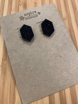 Acrylic Hexagon Stud Earring