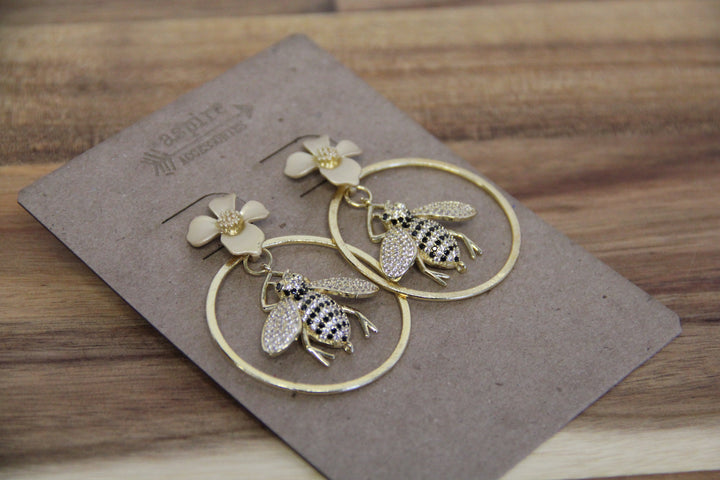 Hoop Bee Earrings