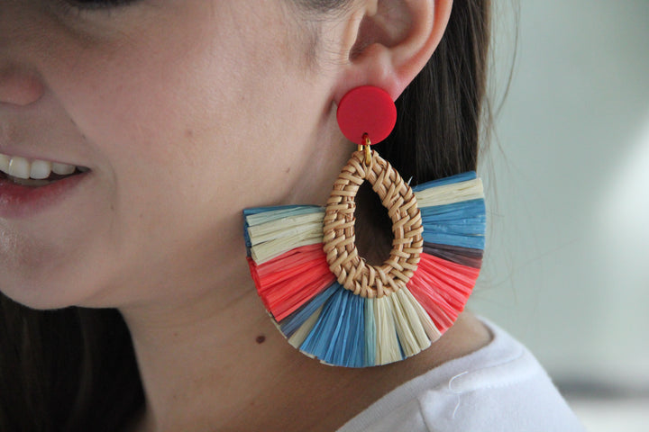 Rattan Fringe - Oval Drop Earrings