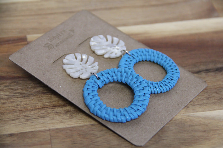 Turquoise Rattan Earrings