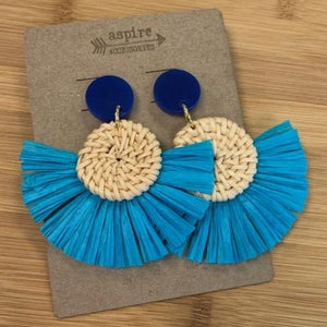 Rattan Fringe - Disc Earrings