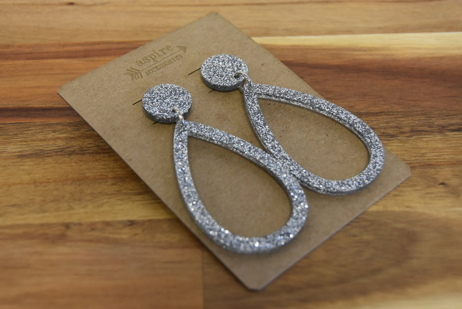 Acrylic Large Teardrop Sparkle Earrings