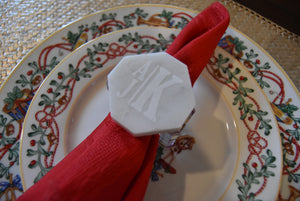 Napkin Rings with Monogram - Set of 6