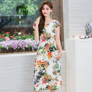 Comfortable Cotton Print Round Neck Short Sleeve Dress