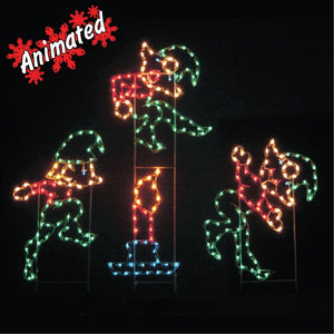 9 elf candle animated - Animated Christmas Elves Decorations