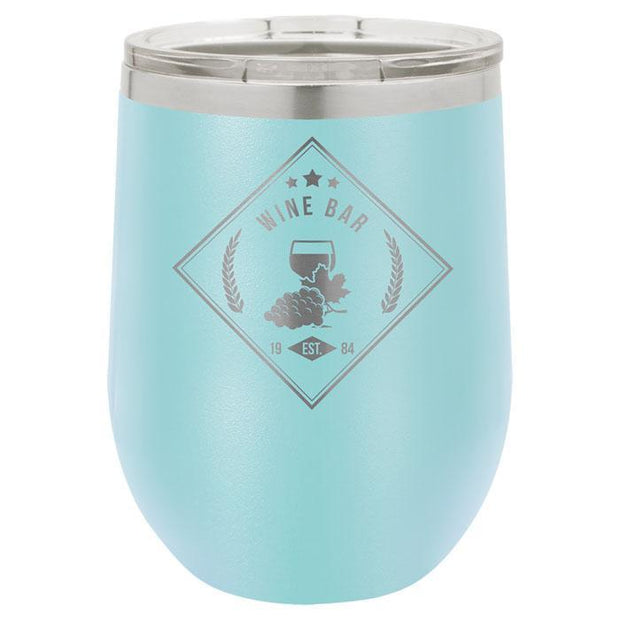Light Blue Stainless Steel Engraved Wine Tumbler