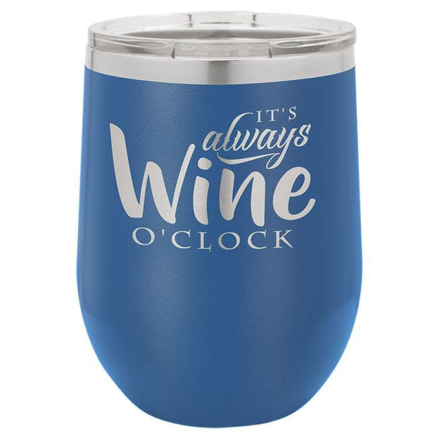 Blue Engraved Wine Tumbler
