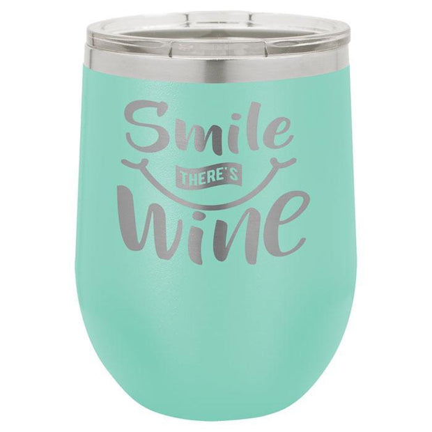 Teal Stainless Steel Engraved Wine Tumbler