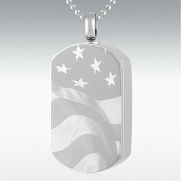 Custom Stainless Steel Flag Dog Tag Cremation Necklace
