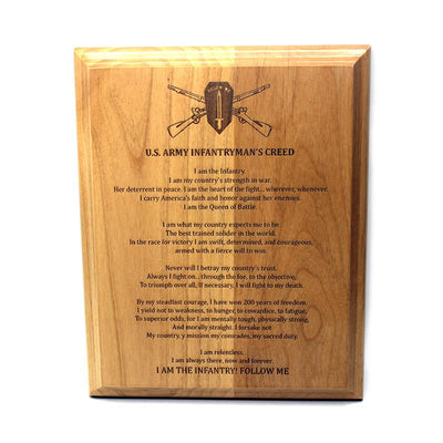 Infantryman's Creed Plaque With Personalized Text