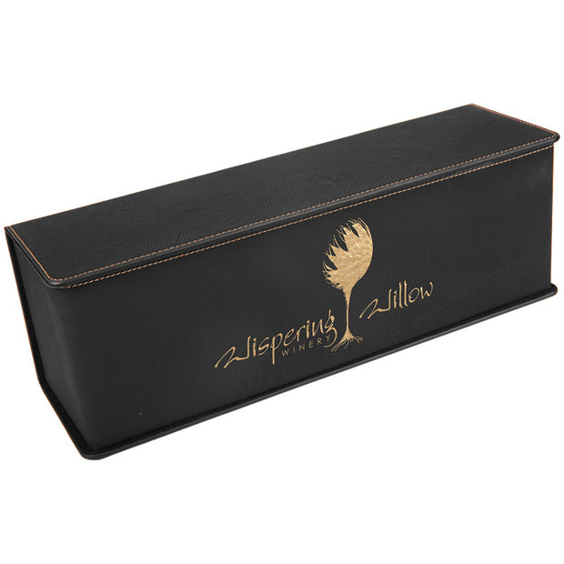 Engraved Black Leatherette Wine Box
