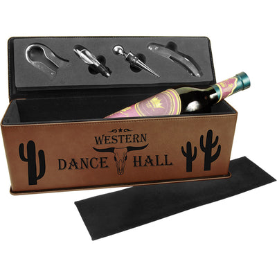 Dark Brown Laser Engraved Leatherette Single Wine Box with Tools