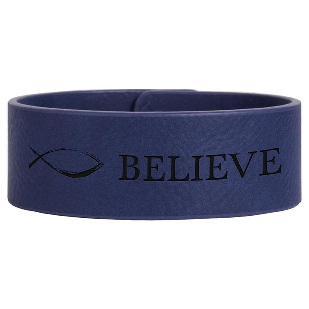 Mens Blue Custom Leather Bracelet