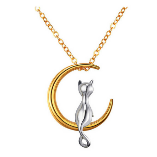 Moon Cat Necklace For Women