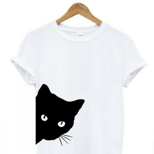 Cat Looking Outside Cotton T-shirt for Women