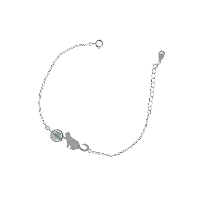 Silver Moonlight Stone Cat Charm Bracelet For Women