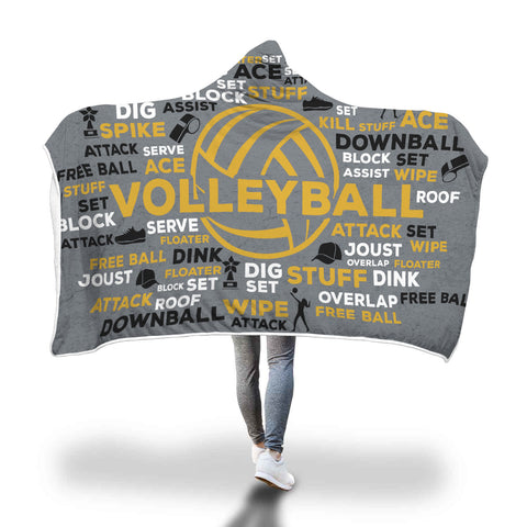 Awesome Volleyball Hooded Blanket - Gray/Gold