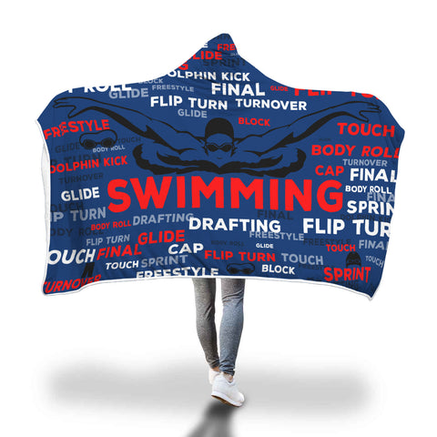 Swimming Hooded Blanket - Red, White, And Blue