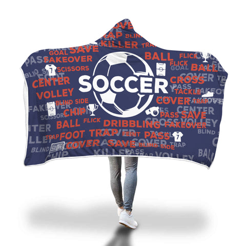 Soccer Hooded Blanket - Navy/White/Red