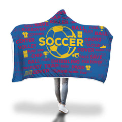Soccer Hooded Blanket - Royal Blue/Gold