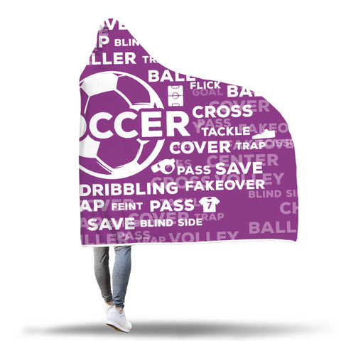 Soccer Hooded Blanket - Purple/White
