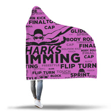 Sharks Swimming Custom Hooded Blanket - Violet