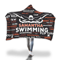 Samantha Swimming Custom Hooded Blanket - Black/Orange