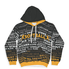 Softball Hoodie - Black/Yellow