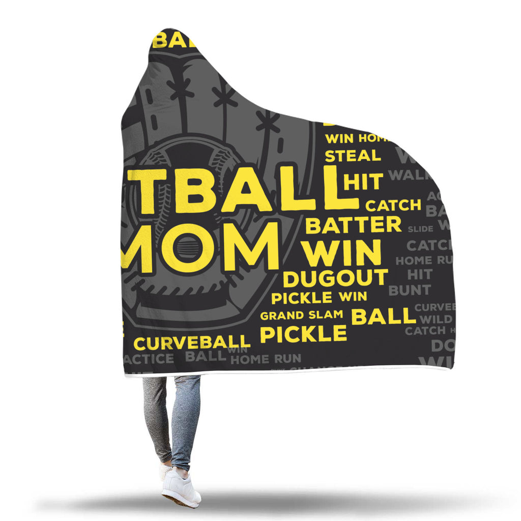 Softball Mom Custom Hooded Blanket - Black/Yellow