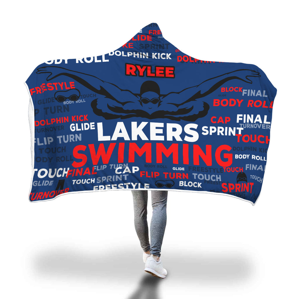 Rylee Swimming Custom Hooded Blanket