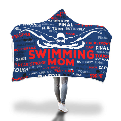 Swimming Mom Custom Hooded Blanket - Blue