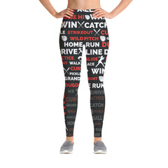 Softball Leggings - Black/Red