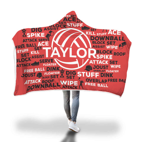 Taylor Volleyball Custom Hooded Blanket