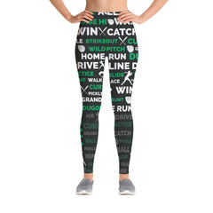 Softball Leggings - Black/Green
