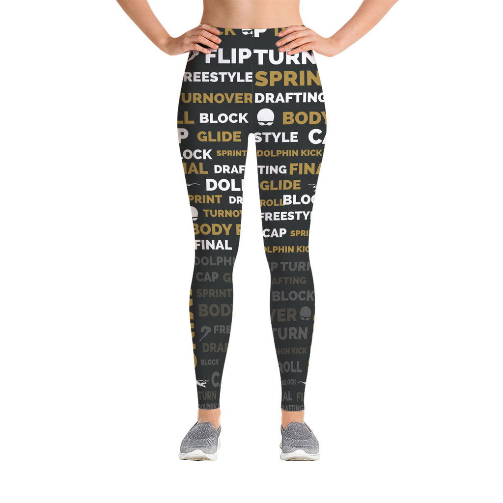 Swimming Leggings - Black/Gold