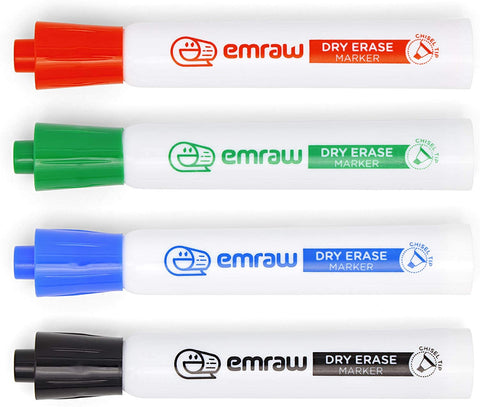 Dry Erase Markers, White Board Fine Tip Pens Assorted Bright Colors with Chisel Point, Comfortable Grip, Erasable, Low Odor Ink | for Kids, School, Classrooms, Charts, and Graphs – By Emraw