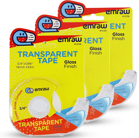 "Tape Transparent Refill with Press N' Cut Dispenser, Crystal Clear Glossy Finish Correction Line, ¾"" X 500"" Instant Adhesion and Excellent Holding Power for Numerous Applications (4 Pack) – by Emraw"