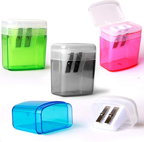 Emraw Dual Hole Manual Pencil Sharpener with Lid & Rectangular Receptacle to Catch Shavings for Regular & Oversize Pencils/Crayons in Blue, Green, Pink & Black Great for School Home & Office - 4-Pack