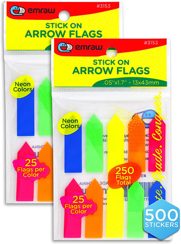 Post Flags Bright Colorful Self-Stick Arrow Sticker Notes, Transparent Index Tab, Neon Colored Bookmarks| Removable and Repositionable – by Emraw (500 Stickers – 2 Packs of 250) Brand: Emraw