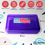 Emraw Utility Storage Box - Bright Color Multi Purpose Pencil Box for School Supplies Durable Plastic Pencil Box, Small Plastic Pencil Case, Mini Organizer Storage Box (Random 4-Pack)