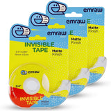 Tape with Dispenser Invisible, Transparent, Matte Finish, Clear, Multipurpose Value Pack Correction Line | Instant Adhesion and Excellent Holding Power for Numerous Applications (4 Pack) – by Emraw