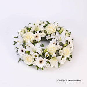 Rose and Lily Wreath (White)