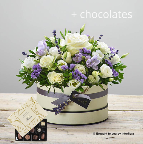 Lovely Lilacs Hatbox With Chocolates