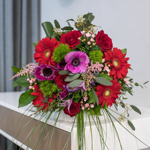 Roses, gerberas and bouvardia flower bouquet