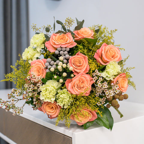 Lemon green, pink and beige flower bouquet