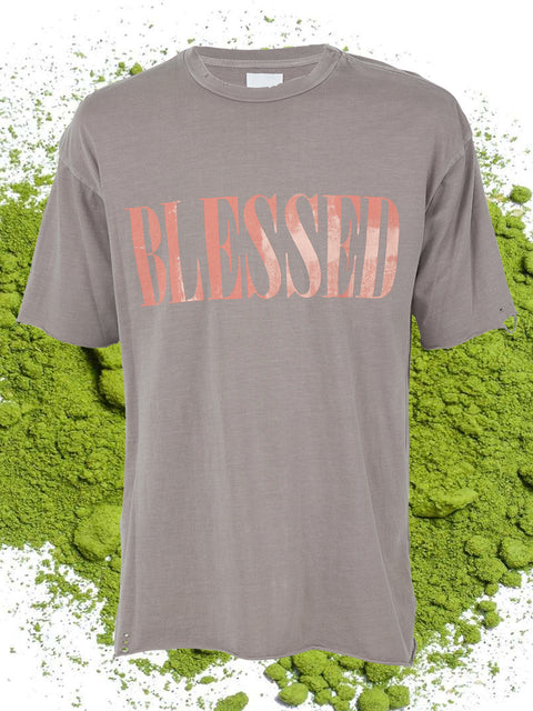 BLESSED SHORT SLEEVE TEE SHIRT IN KHAKI