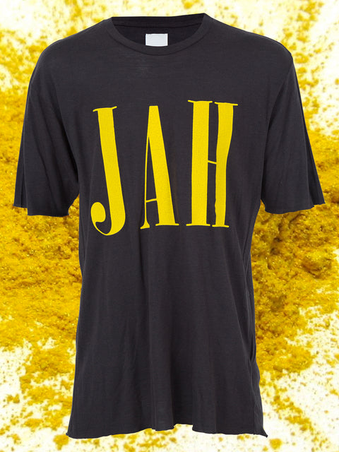 JAH SHORT SLEEVE TEE IN BLACK & YELLOW