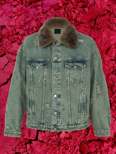 ROCKY JACKET WITH FUR & PATCHES