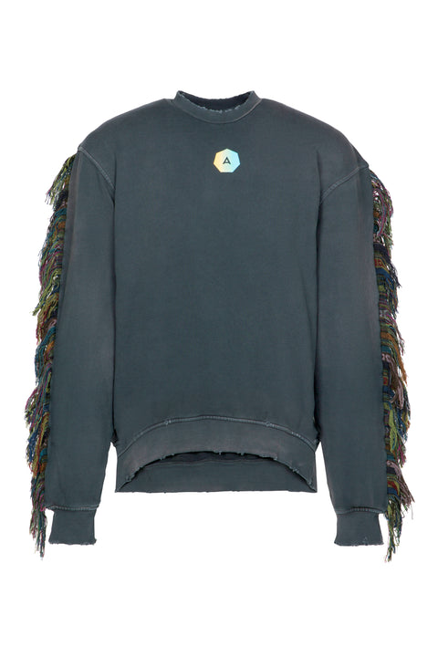 SURFSIDE FRINGE SWEATER IN VINTAGE BLACK