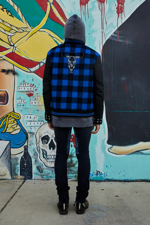 THE TOMBSTONE VARSITY BLACKMEANS BOMBER JACKET